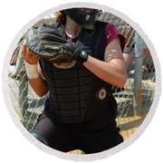 Round Beach Towel featuring the photograph Temple University Bullpen Catcher by Mike Martin