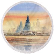 Temples In The Dusk Round Beach Towel
