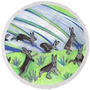Round Beach Towel featuring the painting Ten Leaping Hares by Denise Weaver Ross