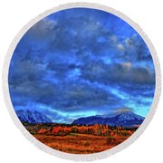 Round Beach Towel featuring the photograph Ten Mile Of Fall Colors by Scott Mahon