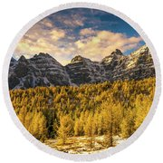 Ten Peaks Canadian Rockies And Golden Fall Larch Colors Round Beach Towel