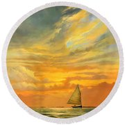 Round Beach Towel featuring the painting Ten Thousand Islands by David  Van Hulst