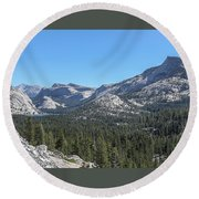 Tenaya Lake And Surrounding Mountains Yosemite National Park Round Beach Towel