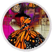 Round Beach Towel featuring the mixed media Tenderly by Marvin Blaine