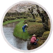 Tending The Japanese Garden No. 2 Round Beach Towel