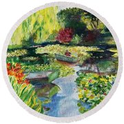 Tending The Pond Round Beach Towel