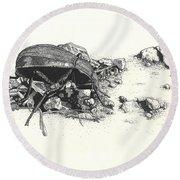 Darkling Beetle Round Beach Towel