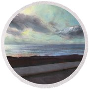 Round Beach Towel featuring the painting Tenerife Sea And Sky by Lesley Spanos