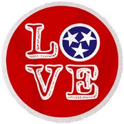 Round Beach Towel featuring the digital art Tennessee Flag Love by Heather Applegate