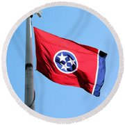 Round Beach Towel featuring the photograph Tennessee State Flag by Kristin Elmquist