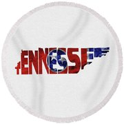 Tennessee Typographic Map Flag Round Beach Towel