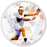 Round Beach Towel featuring the painting Tennis 114 by Movie Poster Prints