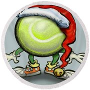 Tennis Christmas Round Beach Towel