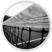 Tennis Net In Black And White Round Beach Towel