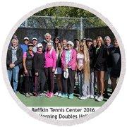 Round Beach Towel featuring the photograph Tennis Potluck Group Shot by Dan McManus