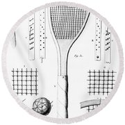 Tennis Racket And Balls Round Beach Towel by French School
