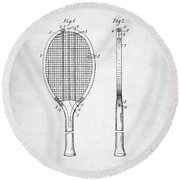 Tennis Racket Patent 1907 Round Beach Towel by Taylan Apukovska