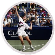 Tennis Serve Round Beach Towel