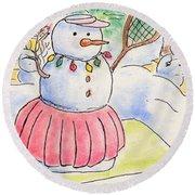 Round Beach Towel featuring the drawing Tennis Snowlady by Vonda Lawson-Rosa