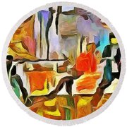 Round Beach Towel featuring the painting Tension by Wayne Pascall