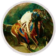 Tent Pegging Sport Round Beach Towel