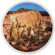 Tent Rocks From Above Round Beach Towel