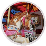 Round Beach Towel featuring the photograph Tented Carousel by Lesley Spanos
