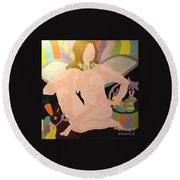 Round Beach Towel featuring the painting Tenth Easter by Erika Chamberlin