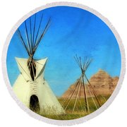 Tepee In Badlands Round Beach Towel by Teresa Zieba