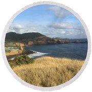 Terceira Coastline, The Azores, Portugal Round Beach Towel