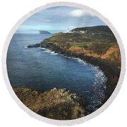 Terceira Island Coast With Ilheus De Cabras And Ponta Das Contendas Lighthouse  Round Beach Towel
