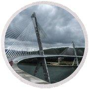 Terenez Bridge I Round Beach Towel by Helen Northcott