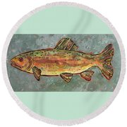 Teresa The Trout Round Beach Towel