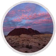 Round Beach Towel featuring the painting Terlingua Sunset by Dennis Ciscel