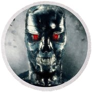 Terminator Oil Pastel Sketch Round Beach Towel