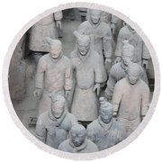 Terra Cotta Warriors Detail Round Beach Towel