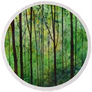 Round Beach Towel featuring the painting Terra Verde by Hailey E Herrera