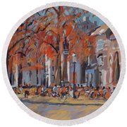 Terrace In The Grand Tanners Street Maastricht Round Beach Towel