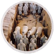 Round Beach Towel featuring the photograph Terracotta Army by Heiko Koehrer-Wagner