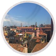 Round Beach Towel featuring the photograph Terracotta Rooftops by Anne Kotan