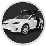 Tesla Model X Luxury Suv Electric Car With Open Falcon-wing Doors Art Photo Print Round Beach Towel