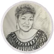 Round Beach Towel featuring the drawing Tessie Guinto  by Rosencruz  Sumera