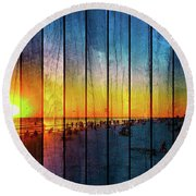 Siesta Key Drum Circle Sunset - Wood Plank Look Round Beach Towel