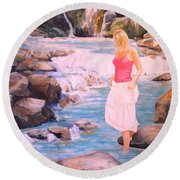 Round Beach Towel featuring the painting Testing The Water by Alan Lakin