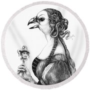 Tete-a-tete With Botticelli Round Beach Towel