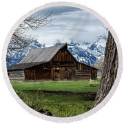 Round Beach Towel featuring the photograph Teton Barn #1 by Scott Read