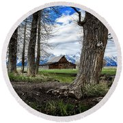 View From Mormon Row Round Beach Towel