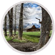 Round Beach Towel featuring the photograph Moulton Barn On Mormon Row by Scott Read