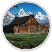 Round Beach Towel featuring the photograph Moulton Barn And Tetons by Scott Read