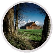 Round Beach Towel featuring the photograph Tetons And Moulton Barn by Scott Read